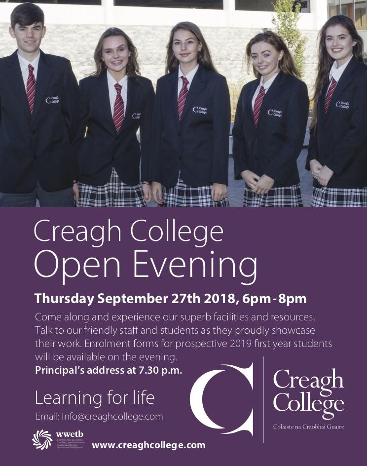 Creagh College Open Night 2018