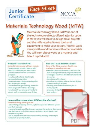 Materials Technology (Wood) at Creagh College, Gorey, County Wexford